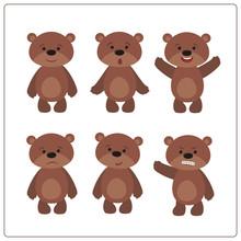Set Funny Teddy Bear In Cartoo...