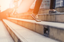 Moving Up Stair With Woman Legs With Casual Shoes View From Below With Free Copyspace