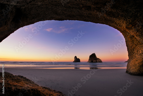 Foto op Aluminium Cathedral Cove Rippled Sand and rock formations at Wharariki Beach, Nelson, North Island, New Zealand