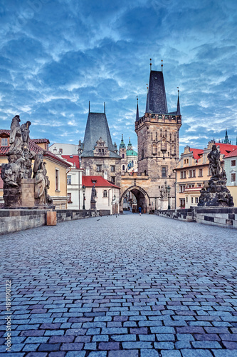Sunrise on Charles bridge in Prague Czech Republic picturesque Wall mural