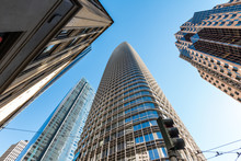 Dramatic And Interesting Angle Of San Francisco's Skyscrapers And High-rise Office Buildings, New Salesforce Tower Scheduled To Be Completed In 2018