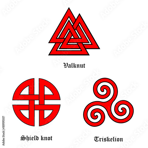 Valknut, shield knot and triskelion Poster