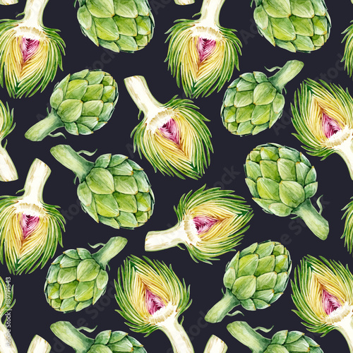 Photo Watercolor artichoke vector pattern