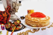 Pancakes With Red Caviar On Th...