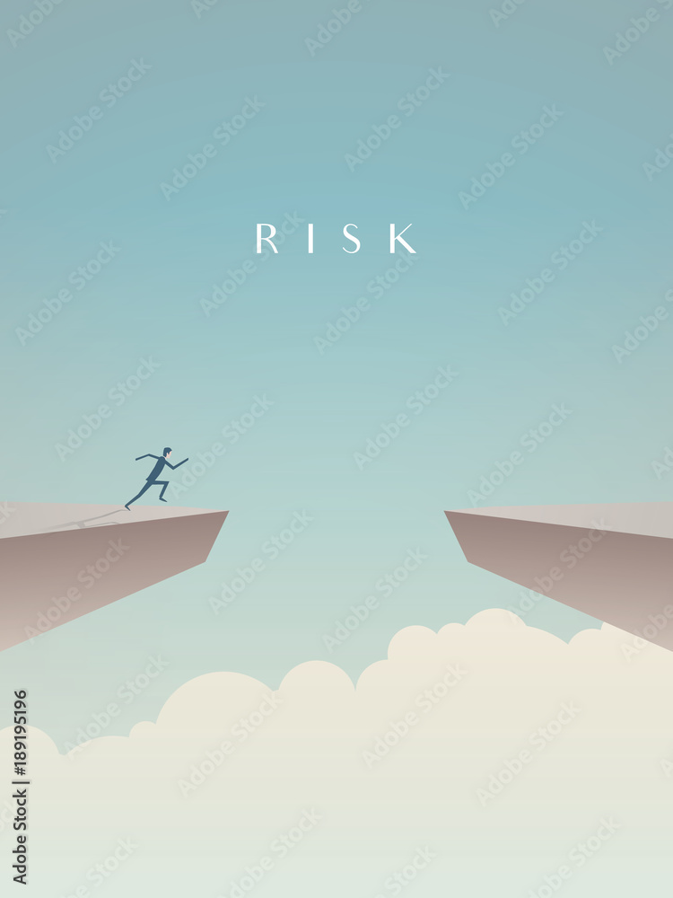 Fototapeta Business risk concept vector with businessman jumping over gap. Symbol of courage, success, motivation, ambition.