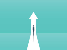 Business Growth Vector Concept With Man Walking Towards Upwards Arrow. Symbol Of Success, Promotion, Career Development.