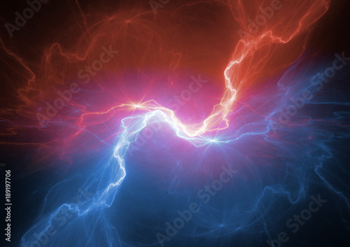 Valokuva Fire and ice plasma lightning, abstract electrical background