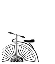Minimal Vintage Style Penny Farthing Bicycle In Partial Form In Black And White Background