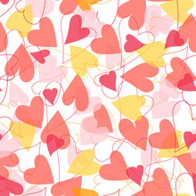 Red Pink And Yellow Heart Seamless Pattern Background. Abstract Romantic Holiday Design Vector Illustration For Valentine's Day