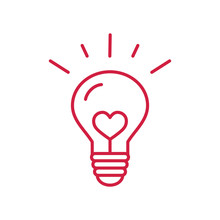 Creative Idea Symbol. Lightning Bulb With Heart Red Line Icon On White Background