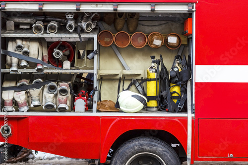 Photographie The fire truck is red. Fire and rescue equipment in a fire truck.