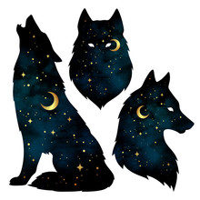 Set Of Wolf Silhouettes With C...