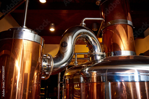 Fotografia Equipment for the preparation of beer in a private brewery