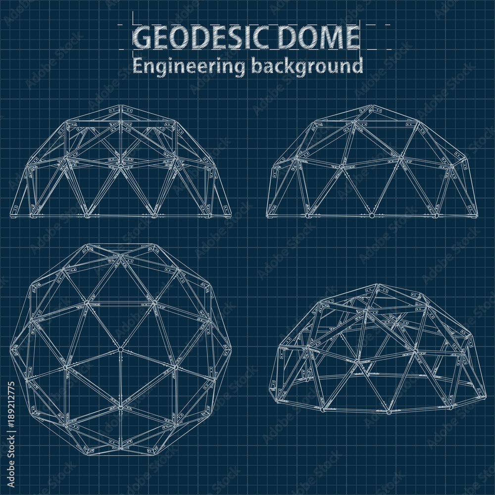 Fototapety, obrazy: Drawing blueprint geodesic domes with lines of building. Vector EPS10.