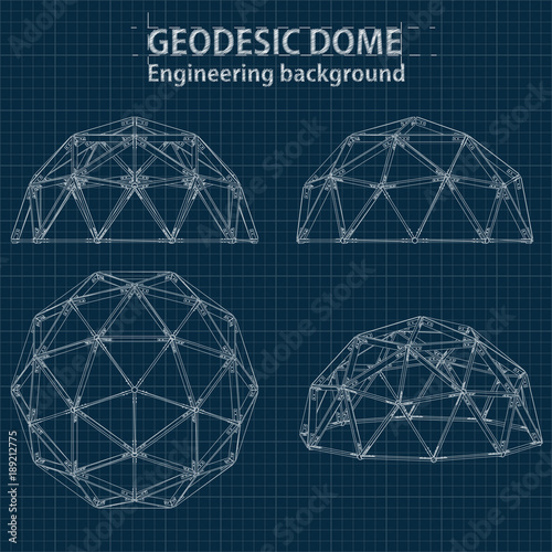 Fotomural Drawing blueprint geodesic domes with lines of building