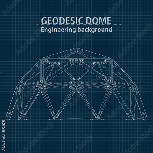 Drawing blueprint geodesic domes with lines of building Fototapete