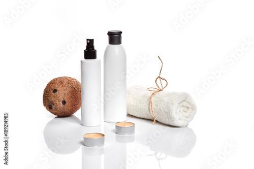 Keuken foto achterwand Spa Organic cosmetics with coconut on white background.