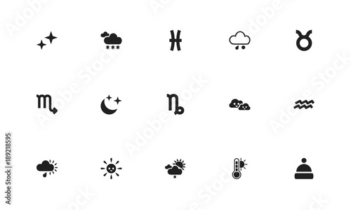 Set Of 15 Editable Weather Icons Includes Symbols Such As Pisces