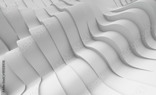 Staande foto Abstract wave 3D illustration of white surface made of waving lines, abstract background