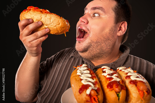 Fat Man Eating Fast Food Hot Dog On Plate Breakfast For Overweight Person Junk