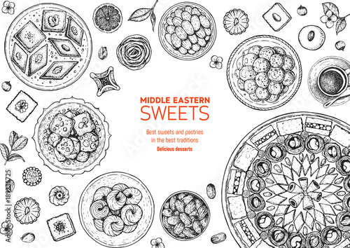 Fotografie, Obraz  Oriental sweets vector illustration