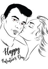 Romantic Couple. Happy valentine's day. Vector illustration