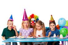 Birthday Child Clown Playing W...