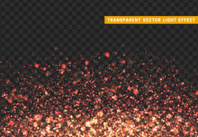 Glowing Lights Red Glitter. Sparkle Particles Texture. Christmas Dust, Luxury Sparkling Vector Background