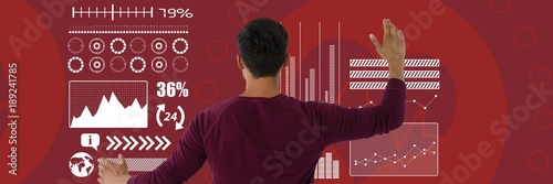 Deurstickers Bordeaux Man clicks white interface on red background