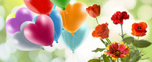 Image Of Flowers And Balloons Close-up