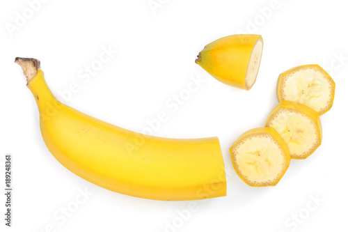 Valokuvatapetti banana sliced isolated on white background. Top view. Flat lay