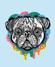 Pug Face With Colorful Drips A...