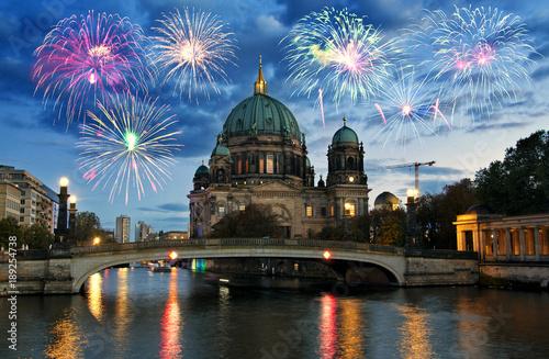 Spoed Fotobehang Berlijn Fireworks over Berliner Dom (Berlin cathedral), Germany