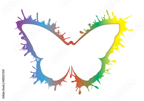 Foto op Aluminium Vlinders in Grunge smudge splash rainbow grunge butterfly icon isolated