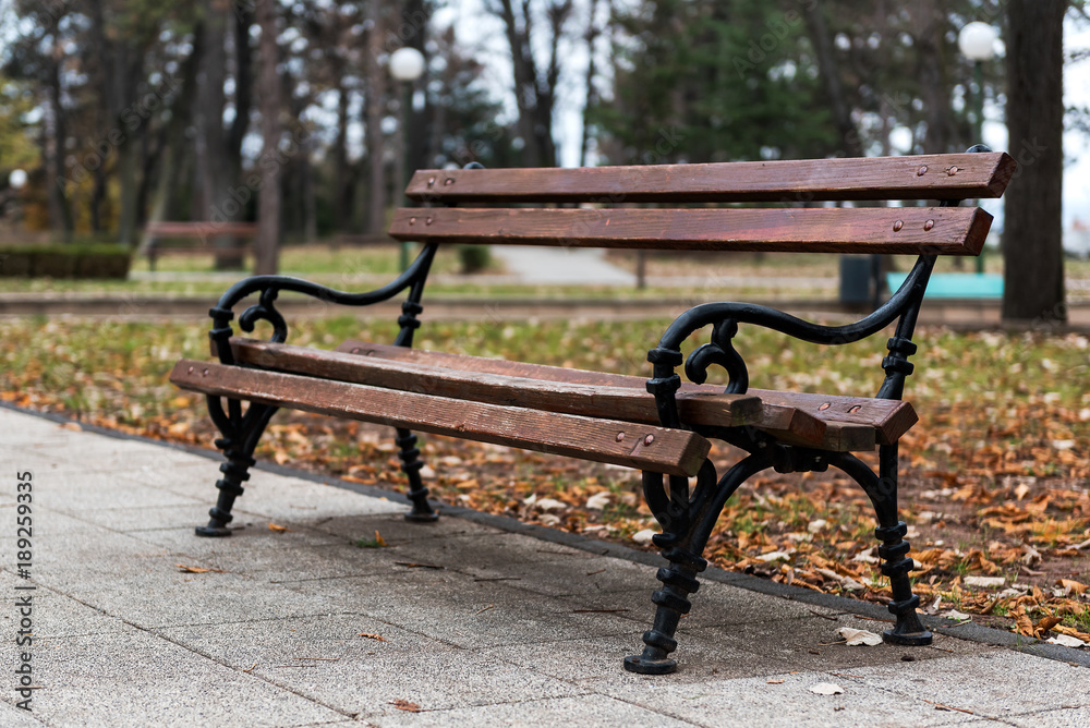 Super Photo Art Print Wooden Bench In Autumn Park With Leaves Pabps2019 Chair Design Images Pabps2019Com