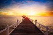 Wooden pier between sunset in Phuket