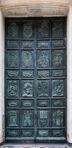 The door of bronze of Duomo of Acireale, Sicily Canvas Print