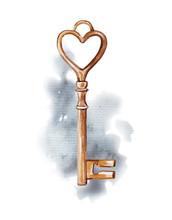 Vintage Golden Key On Watercol...
