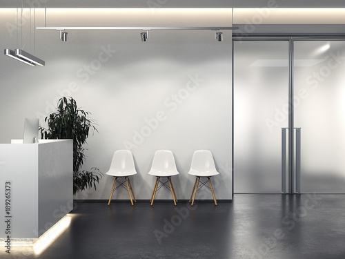 Clean interior with reception and row of chairs. 3d rendering Slika na platnu