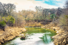 River Legacy Parks In Winter, Located In Arlington, Texas, USA.