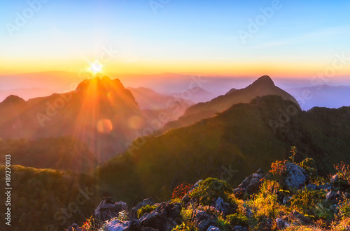 Foto op Canvas Koraal Raylight sunset Landscape at Doi Luang Chiang Dao, High mountain in Chiang Mai Province, Thailand