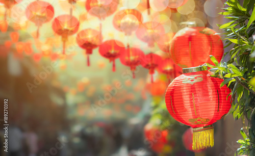 Fond de hotte en verre imprimé Pékin Chinese new year lanterns in chinatown
