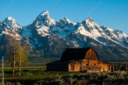 Fotografie, Obraz  Grand Tetons and Moran Barn