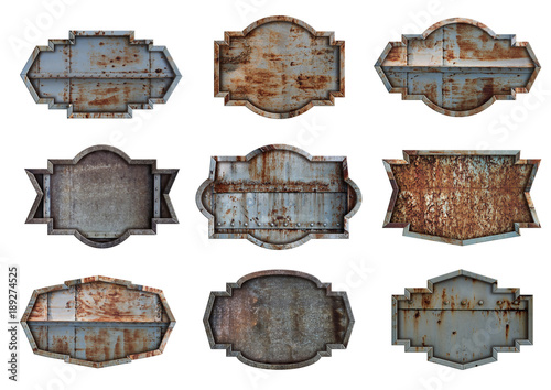 Poster Metal Old steel metal sign plate texture background isolated on white