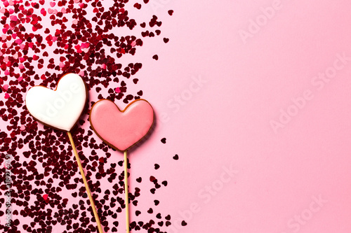 Background with gingerbread hearts with space for your text