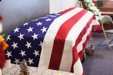 American Flag On A Casket