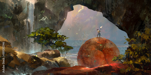 painted colorful fantasy landscape with a traveler and a waterfall
