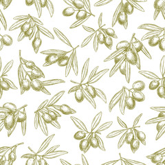 FototapetaOlives branches on olive vector seamless pattern