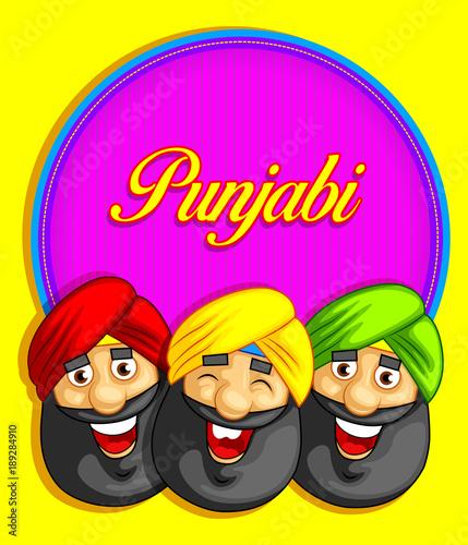 cartoon style Punjabi character illustration Tapéta, Fotótapéta
