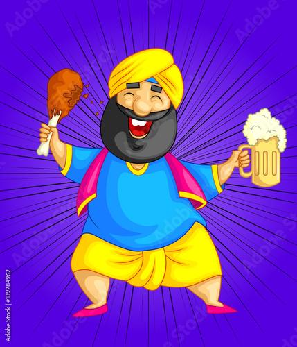 Fotografia, Obraz cartoon style Punjabi character illustration